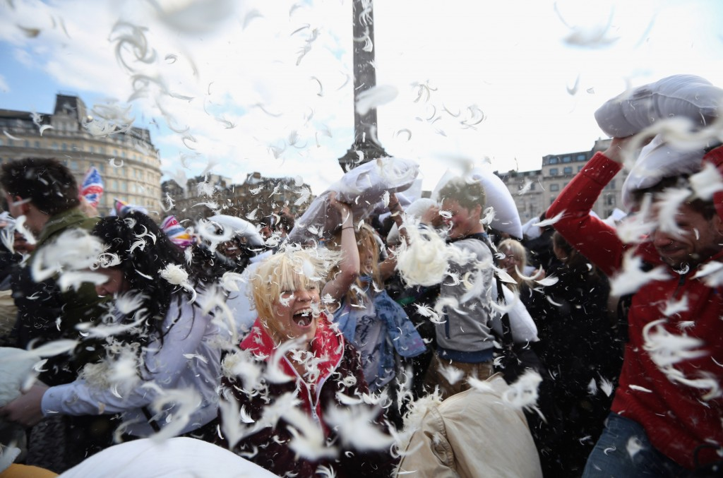 World Pillow Day Is Celebrated In Trafalgar Square
